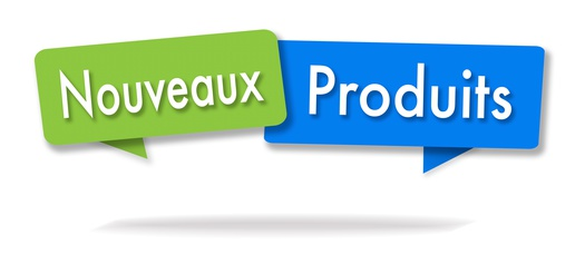New products illustration in two colored bubbles in French blue and green